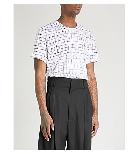 HAIDER ACKERMANN Checked cotton-jersey T-shirt (White
