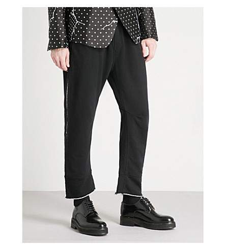 HAIDER ACKERMANN Two-tone cotton-jersey jogging bottoms (Black+white