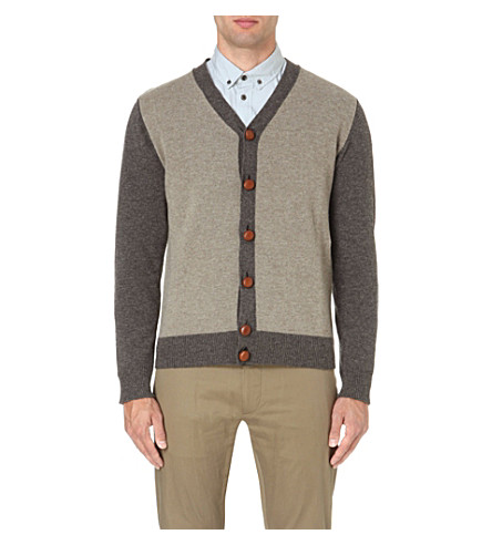 GOLDEN GOOSE DELUXE BRAND Colourblock wool cardigan (Taupe