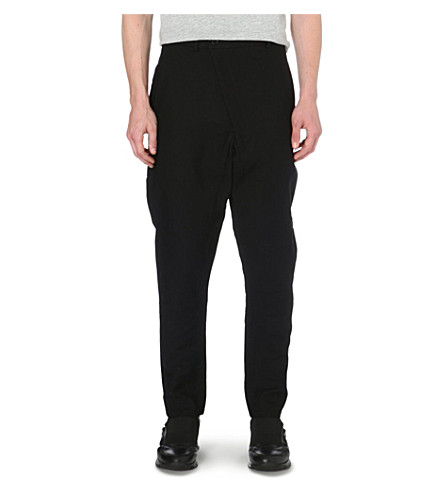 ALEXANDRE PLOKHOV Cross-over cotton-blend trousers (Black