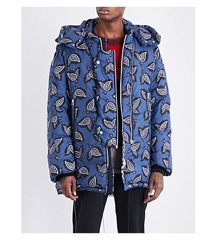 OAMC Paisley-print shell-down coat (Night+blue+leaf+paisley