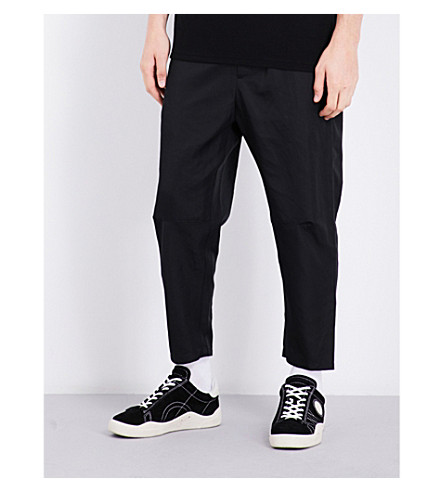 OAMC Tapered cropped high-rise cotton-blend trousers (Black