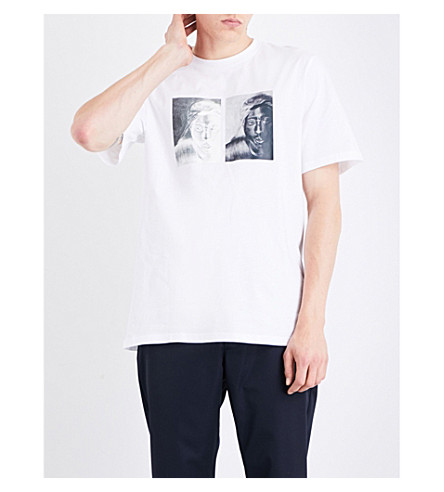 OAMC S.O.S. Tupac-print cotton-jersey T-shirt (White