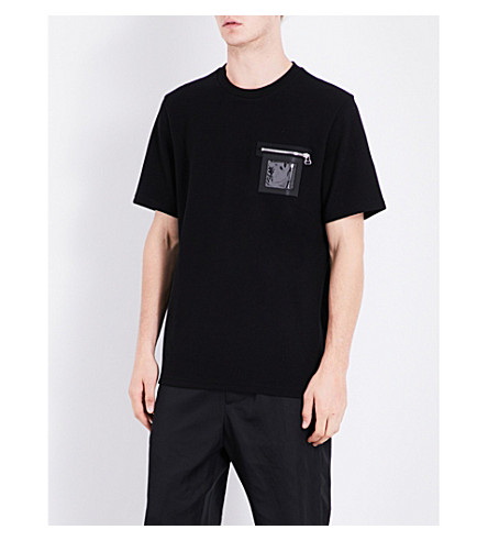 OAMC Windowpane pocket cotton and wool-blend T-shirt (Black