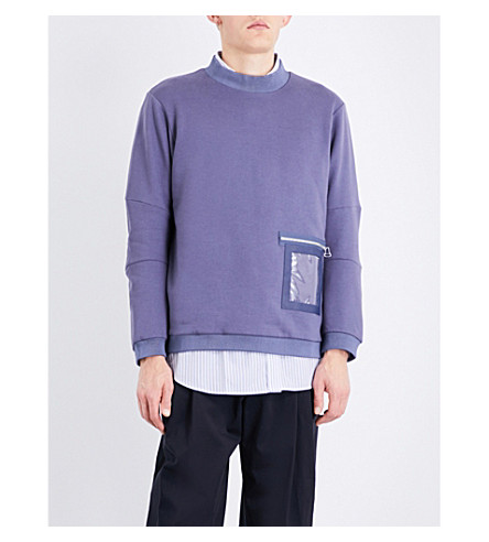 OAMC Window-detailed cotton-jersey sweatshirt (Slate