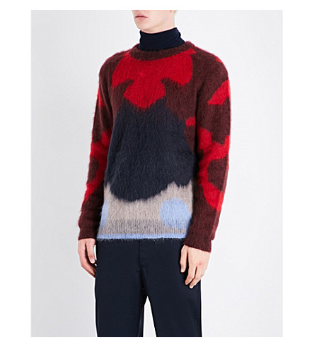 OAMC Patterned mohair-blend jumper (Red