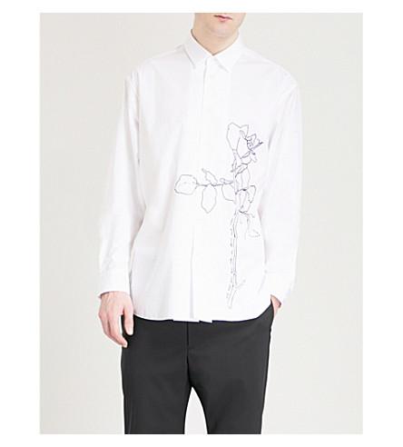OAMC Rose-embroidered regular-fit cotton-poplin shirt (White