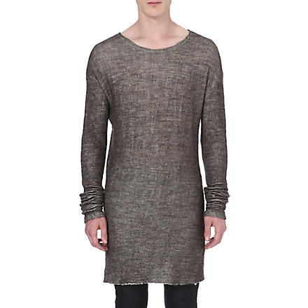 ISABEL BENENATO Cotton and wool-blend knitted jumper (Grey