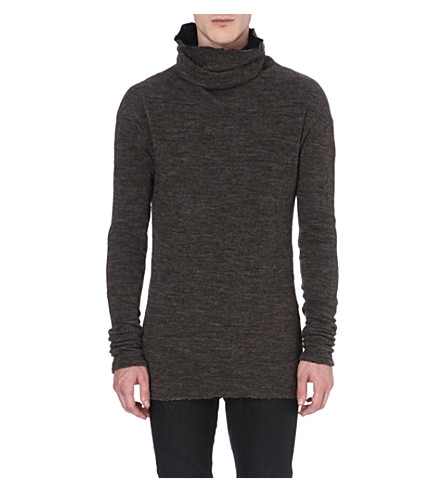 ISABEL BENENATO Roll-neck knitted jumper (Charcoal