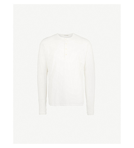 ISABEL BENENATO Henley cotton-jersey top (Milk