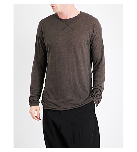 ISABEL BENENATO Oversized cotton and wool-blend top (Taupe