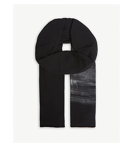 ISABEL BENENATO Hand-painted cotton scarf (Black