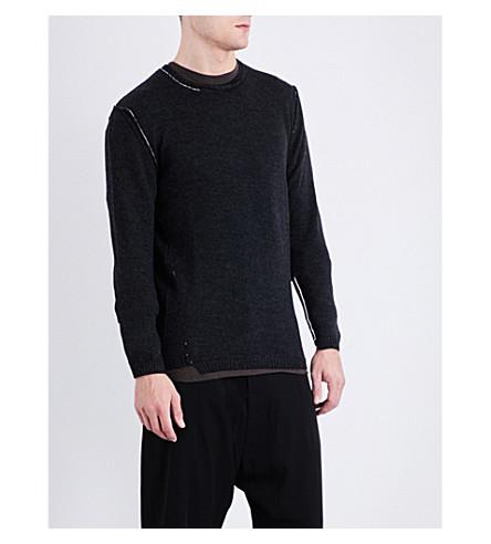 ISABEL BENENATO Distressed merino wool jumper (Graphite