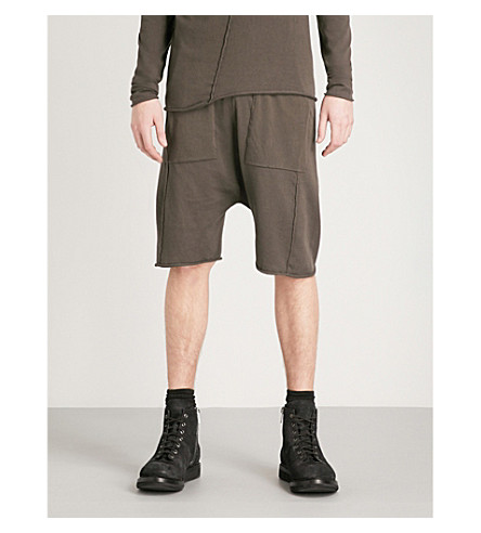 ISABEL BENENATO Dropped-crotch relaxed-fit knitted shorts (Elephant