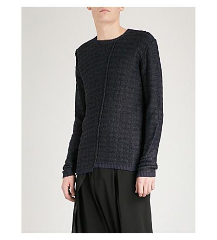 ISABEL BENENATO Reverse-stitched knitted-jacquard jumper (Dark+blue