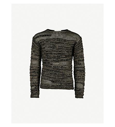 ISABEL BENENATO Multi yarn-patterned knitted jumper (Elephant+black