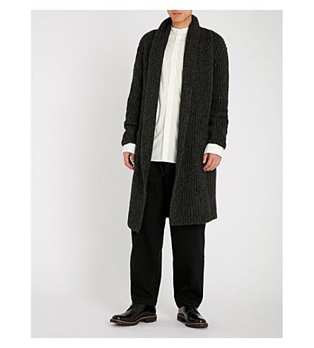 ISABEL BENENATO Open-front alpaca-blend coat (Graphite