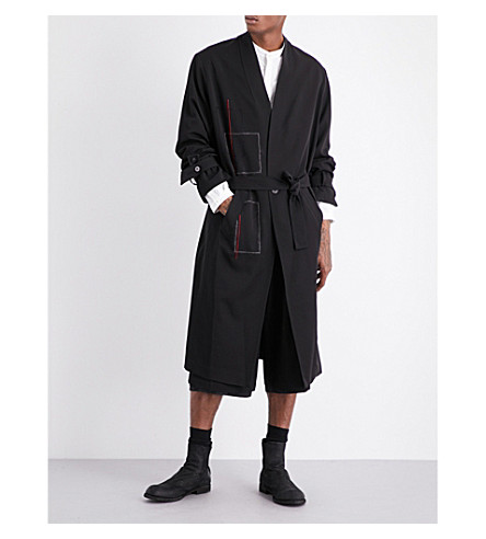 ISABEL BENENATO Tie-waist wool coat (Black