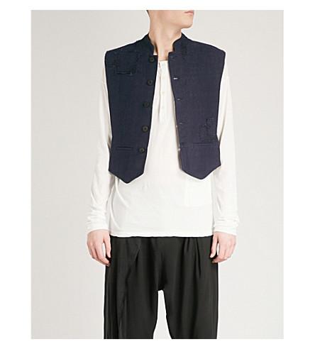 ISABEL BENENATO Patch-detailed linen waistcoat (Purple+blue