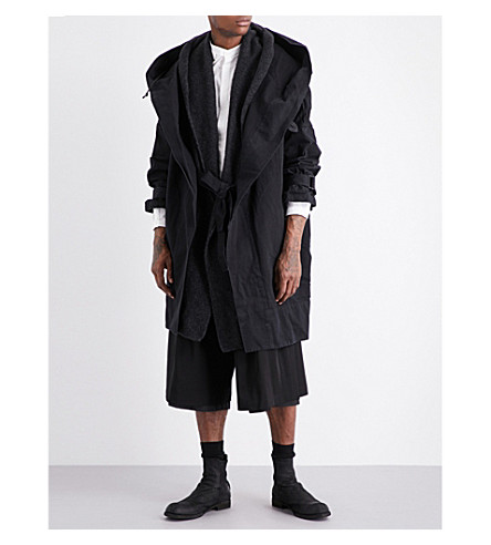 ISABEL BENENATO Oversized cotton-twill coat and cardigan (Black