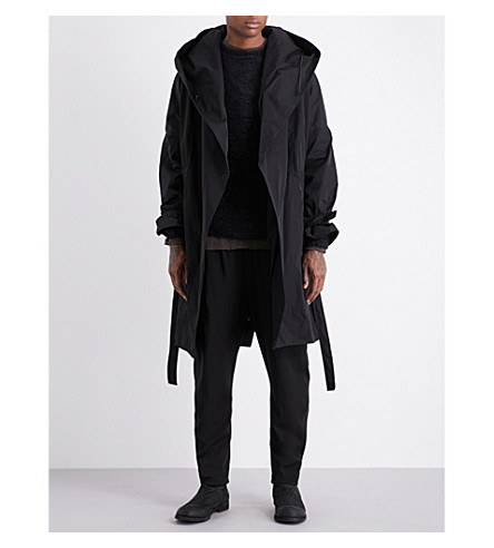 ISABEL BENENATO Hooded oversized twill coat (Black