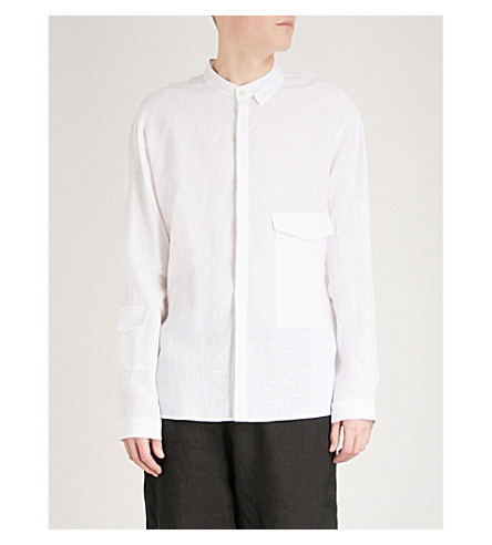 ISABEL BENENATO Pocket-detailed regular-fit linen shirt (Milk