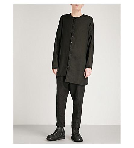 ISABEL BENENATO Relaxed-fit linen tunic shirt (Black