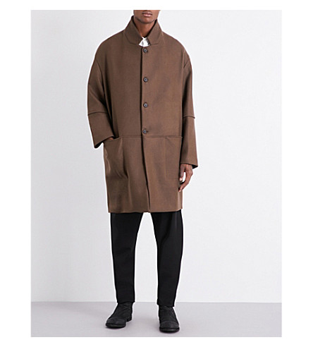 ISABEL BENENATO Oversized wool coat (Dark+soil