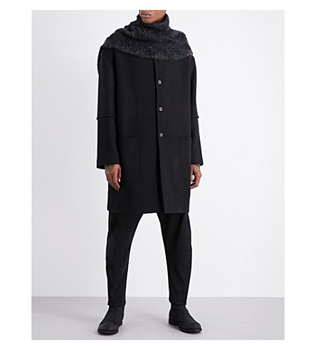 ISABEL BENENATO Oversized wool coat and scarf (Black
