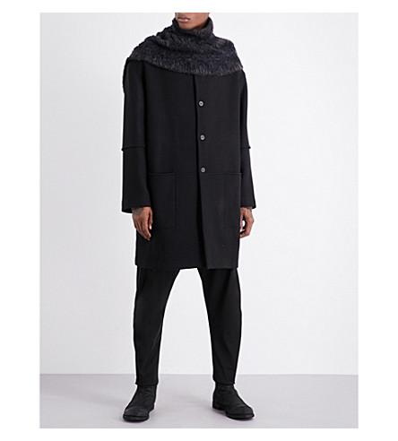 ISABEL BENENATO Oversized wool coat and scarf (Black