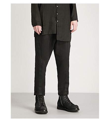ISABEL BENENATO Military relaxed-fit linen trousers (Black