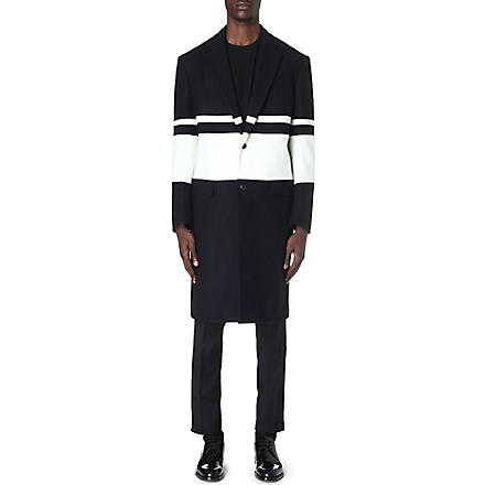 CASELY-HAYFORD Ashmore striped overcoat (Navy/white