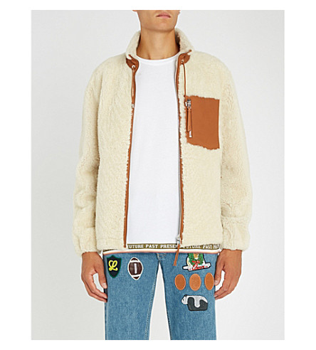 LOEWE Contrasting-trims shearling jacket (Off+white