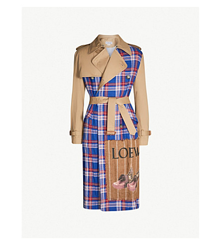LOEWE Checked cotton trench coat (Camel