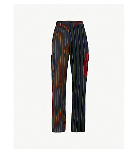 LOEWE Patchwork striped regular-fit wool-blend pants (Multi