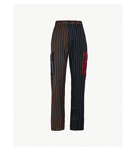 LOEWE Patchwork striped regular-fit wool-blend trousers (Multi