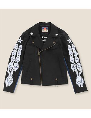 BLACKMEANS Wolf-embroidered biker jacket