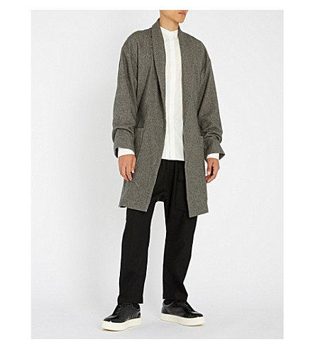 THE ELDER STATESMAN Cotton, wool and cashmere-blend belted wrap coat (Charcoal