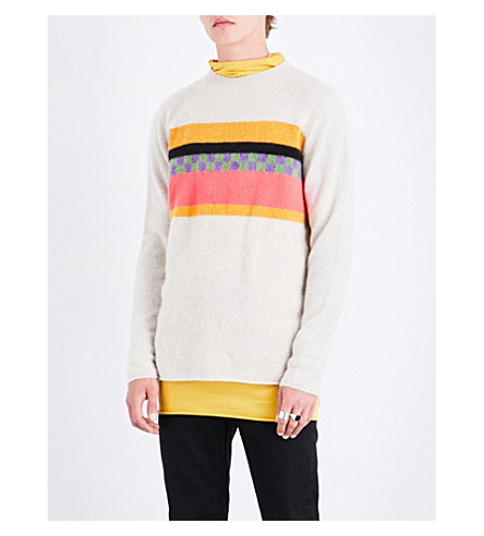 THE ELDER STATESMAN Gofa striped cashmere jumper (White+black+yellow