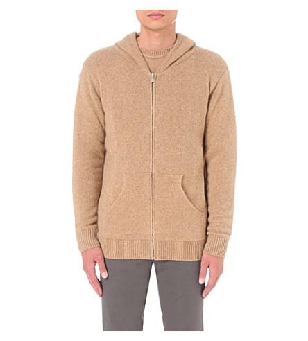THE ELDER STATESMAN Zip-up cashmere hoody (Camel