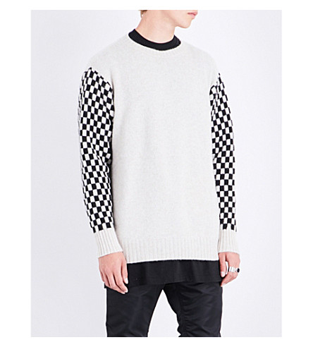 THE ELDER STATESMAN Checkered cashmere jumper (Black+white