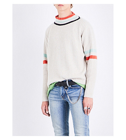 THE ELDER STATESMAN Odyssey cashmere jumper (White+black+mint
