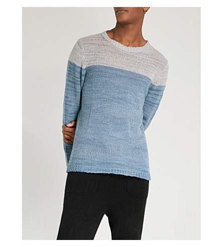 THE ELDER STATESMAN Dip-dye cashmere jumper (Blue+slate
