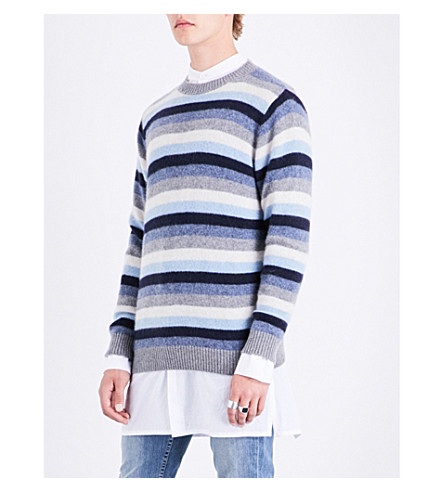 THE ELDER STATESMAN Striped cashmere jumper (Baby+blue+light+grey