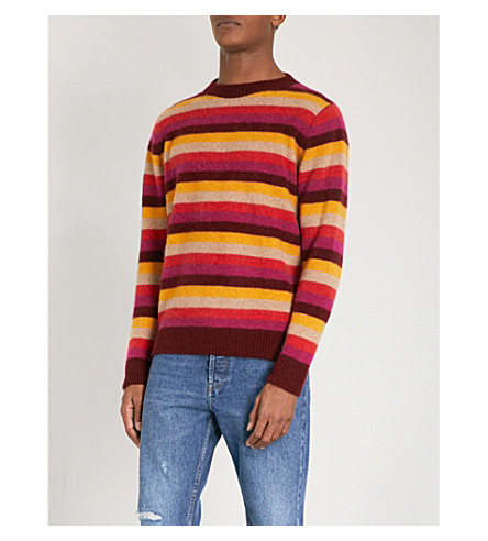 THE ELDER STATESMAN Striped cashmere jumper (Red+black+stripe
