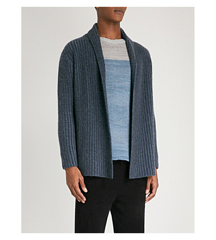 THE ELDER STATESMAN Plaited cashmere cardigan (Deep+denim