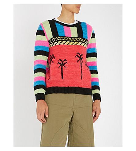 THE ELDER STATESMAN Tes knt stripes and palms (Black+aqua+mint+pink