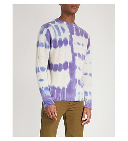 THE ELDER STATESMAN Tie-dye cashmere jumper (Deep+blue