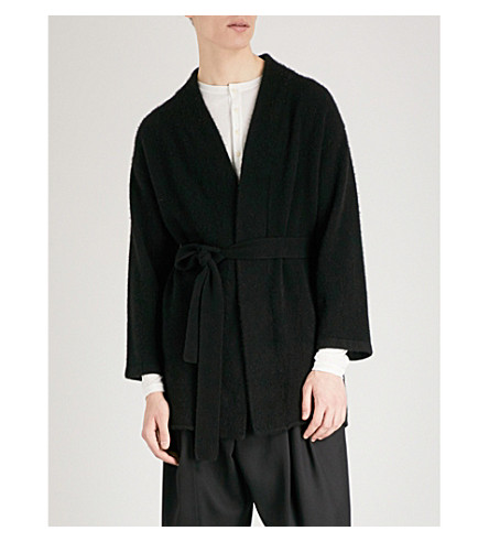 THE ELDER STATESMAN Striped cashmere cardigan robe (Black+white
