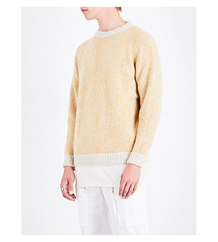 THE ELDER STATESMAN Crewneck cashmere jumper (White+yellow